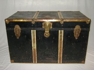 Antique Vtg Flat Top Steamer Chest Trunk T - 46 Long Lock Black Metal Covered Deco photo