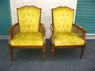 Pair Vintage Cane Gold Velvet Arm Chairs Tufted With A French Provincial Style photo