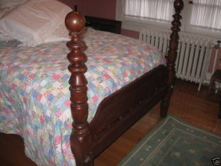 Antique Cannon Ball Federal Cherry Rope Bed photo