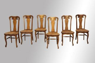 15862 Set Of Six Oak Carved Chairs photo