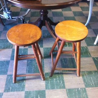 Pair Of Antique Oak Swivel Top Bar Stools photo