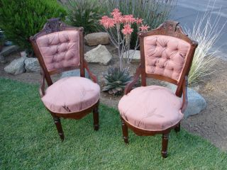 Pair Of Antique Eastlake Parlor Chairs - 19th C - In Cont.  Usa Only photo