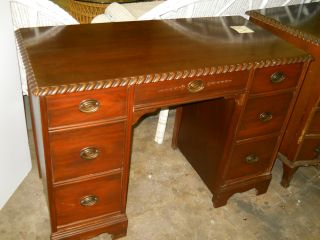 Mahogany Finished Rope Carved Desk photo
