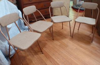 Vintage Cosco Metal & Vinyl Folding Chairs Set Of 4 Mid Century Modern Design photo