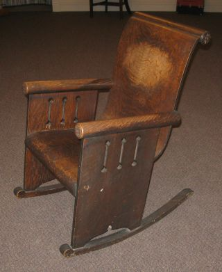 Unusual Antique Mission Style Art Nouveau Rocker Rocking Chair photo