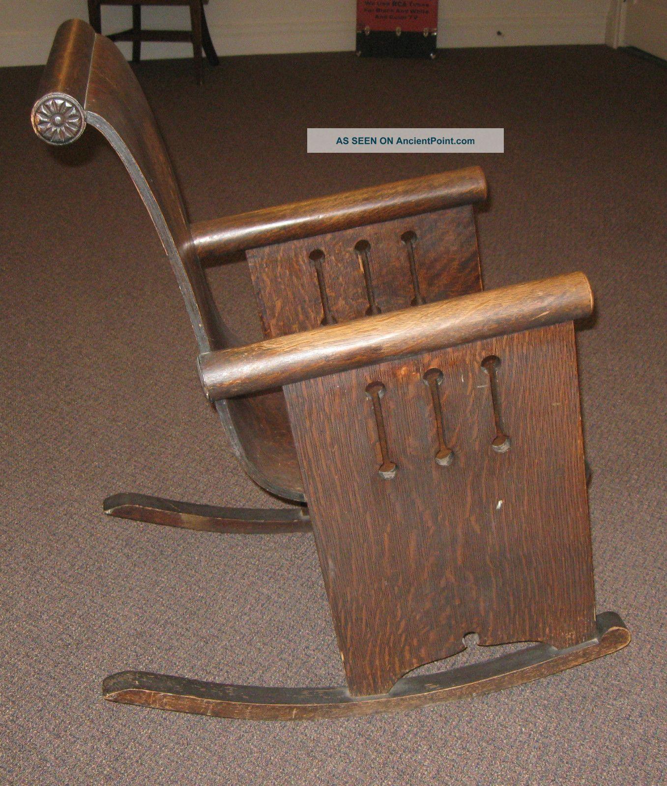 unusual antique mission style art nouveau rocker rocking chair 9 lgw