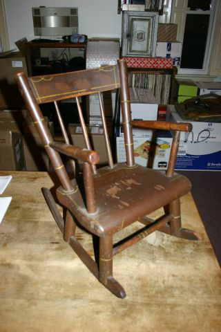 Antique Childs Wooden Plank Bottom 24 Inch Rocking Chair With Arms photo