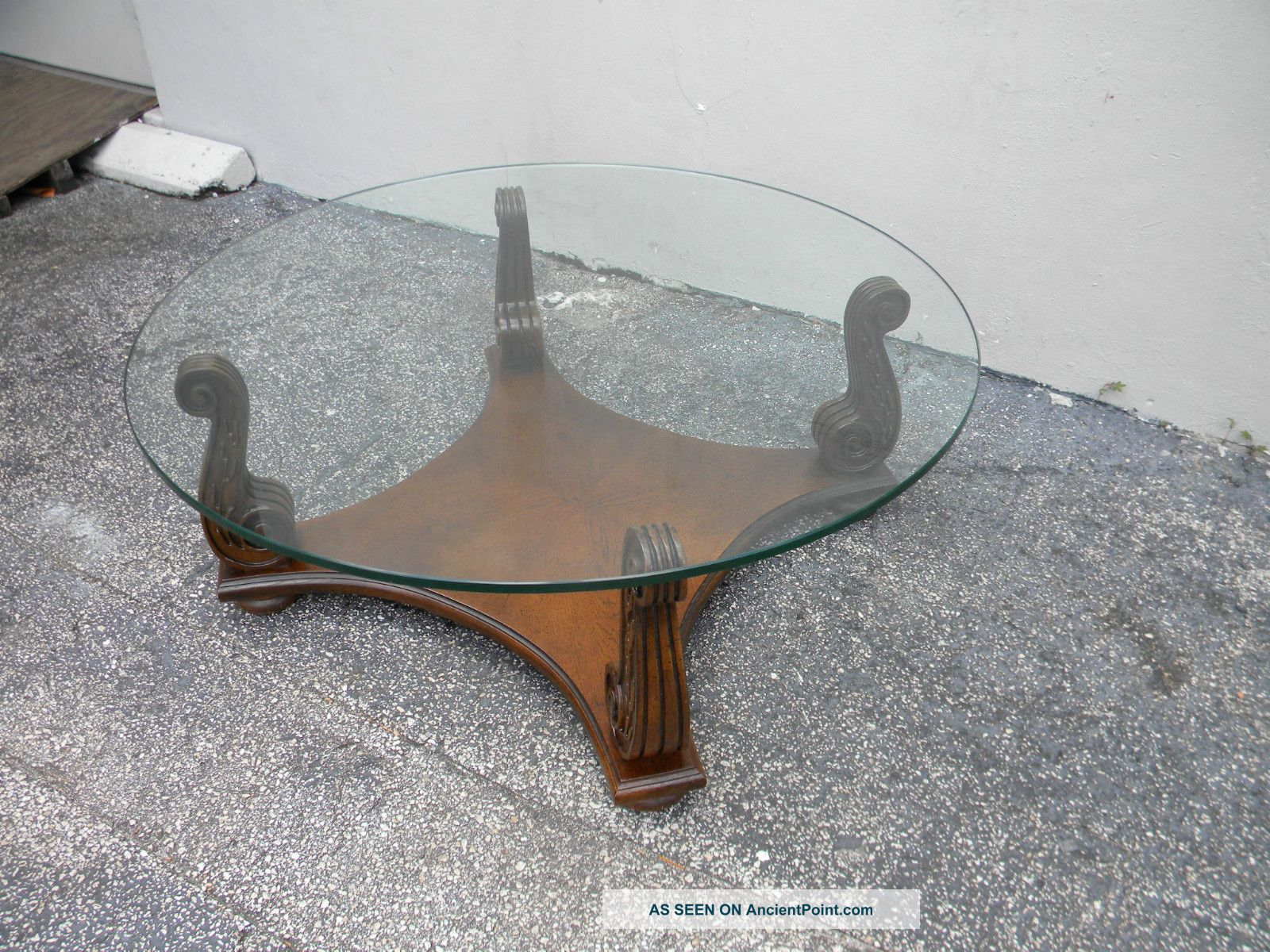 Mid century oak round glass top coffee table 2651 post 1950 photo