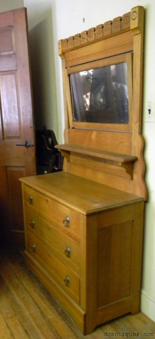 Antique Solid Chestnut Spoon Carved 3 - Drawer Bedroom Dresser With Large Mirror photo
