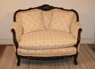 Antique Petite Torch And Flame Heavily Carved French Style Settee Loveseat Sofa photo