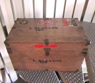 Vintage Crate Chest Trunk H Roe Bartle Boy Scout Wood & Leather Camp Osceola,  Mo photo