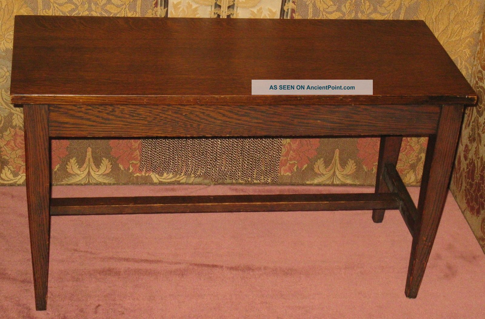 Antique Solid Oak Piano Organ Hinged Lift Top Bench W/original Finish Ca 1890s 1800-1899 photo