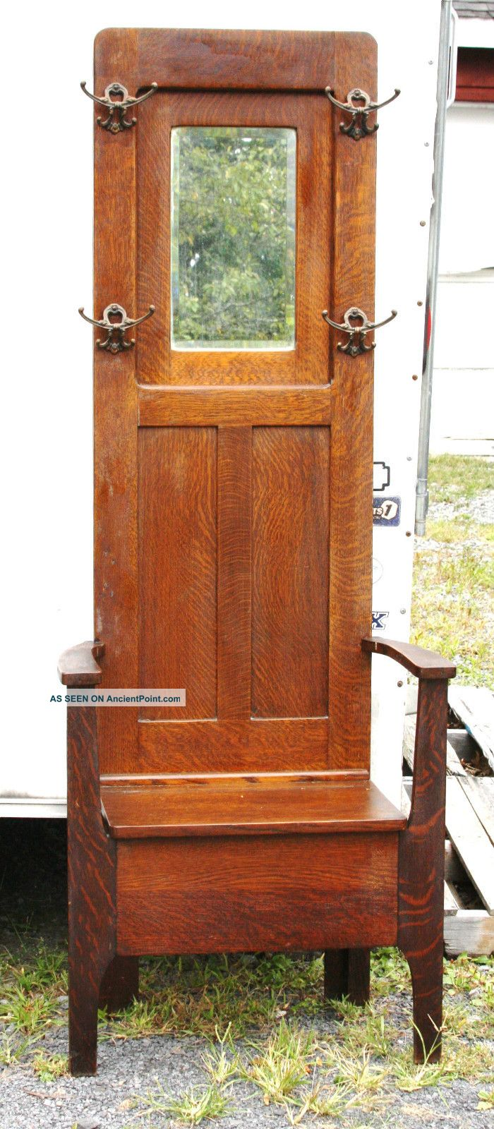 Circa 1890s Oak Hall Stand With Mirror Top And Lift Top Bench Seat - Very Clean 1800-1899 photo