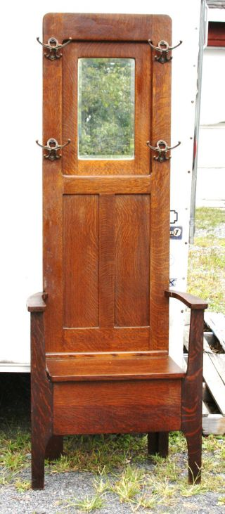 Circa 1890s Oak Hall Stand With Mirror Top And Lift Top Bench Seat - Very Clean photo