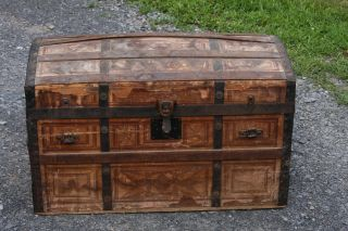 1870s Victorian Dome Top Trunk With Tray - Wood Slats - Estate Item From Attic photo