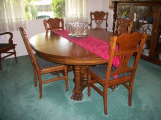 Antique Dining Room Set Made Of Tiger Oak With Six Chairs photo