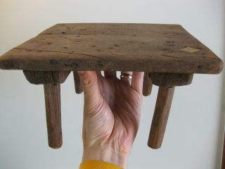 Antique Child ' S Childrens A H Name Brand Brown Wood Wooden Stool 6