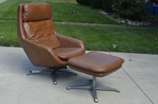 Mid Century Modern Overman Lounge Chair And Ottoman Pigskin Brown Eames Vintage photo