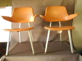 Pair 2 Vintage Shaw Walker Aluminum Frame Arm Chair Office Home Dining photo