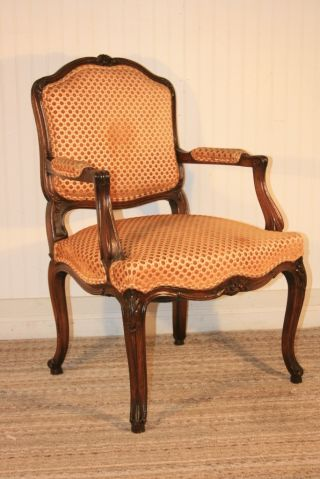 Antique French Carved Louis Xvi Style Heavy Walnut Bergere Open Arm Chair photo