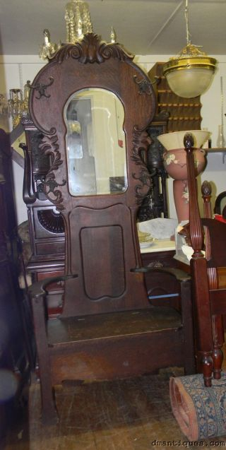 Antique Oak Hall Stand Seat Tree Bevelled Mirror Lions Head Hooks Coats Hats photo