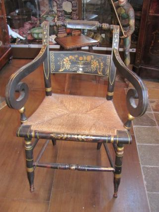 Set Of 8 American Fancy Painted Hitchcock Chairs Circa 1820 photo
