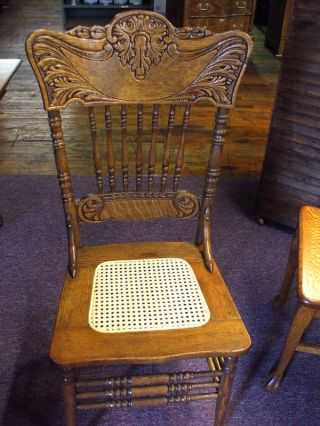 Antique Oak Chair Pressed Back Cane Seat (restored) Pa.  Made In Usa photo