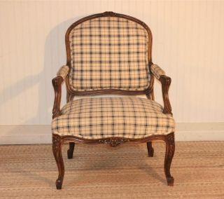 Vintage French Carved Louis Xvi Style Bergere Upholstered Open Arm Chair photo