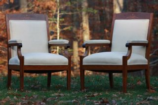 Pair Of Antique Edwardian Late Victorian Inlaid Mahogany Arm Chairs,  C.  1910 photo