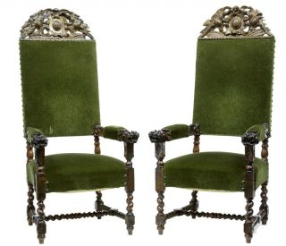 A Pair Of 19th Century Antique Carved Walnut Armchairs photo