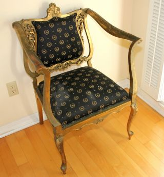 Stunning Louis Xv Parlor Chair With Napoleonic Crest Fabric photo