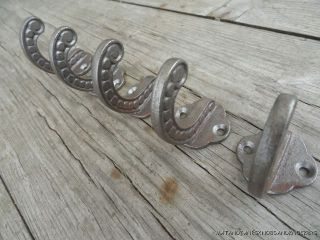 Set Of 5 Victorian Style Cast Iron Coat Hook Hallstand Hooks photo