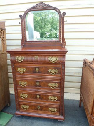 50927 Antique Victorian High Chest Dresser With Mirror Rare Find photo