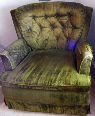 Green Vintage Retro Style Velour Rocking Sitting Armed Chair 1b photo