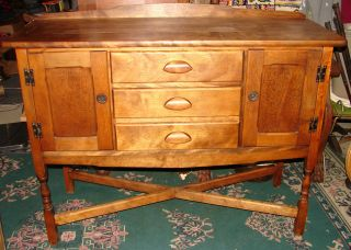 Antique Mission Style Oak Sideboard Server Buffet photo