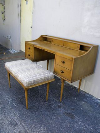 Mid Century Vanity/desk With Mirror & Stool By Lenoir photo