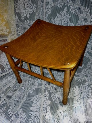Antique Oak Stool India Stool Bench,  Early 190 ' S Refinished photo