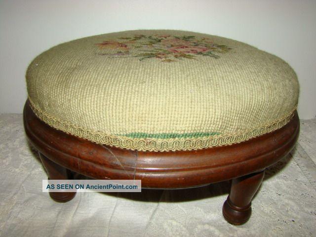 Antique Wood Footstool Rose Garden Needlepoint Victorian Circa 1880 ' S 1800-1899 photo