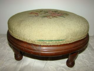 Antique Wood Footstool Rose Garden Needlepoint Victorian Circa 1880 ' S photo
