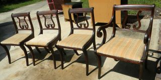 5 Solid Mahogany Duncan Phyfe Harp Back Dinning Chairs photo