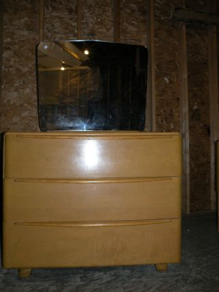 Early Encore Heywood Wakefield Mid Century Modern Bedroom Dresser And Mirror photo