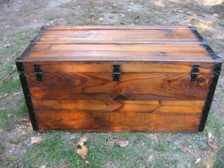 Antique Civil War Era Stage Coach Chest Steamer Trunk Restored A+ Coffee Table photo
