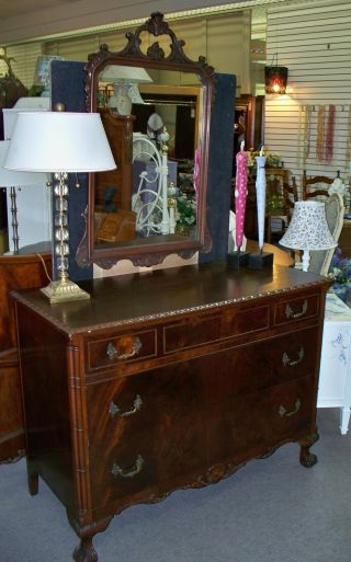 1940 ' S Mahogany Chippendale Bedroom Set photo