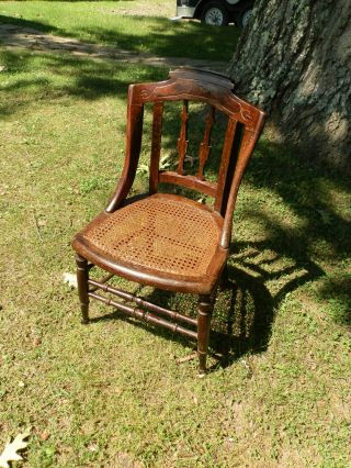 Rustic Antique Country Victorian Child/youth Chair With Caned Seat photo