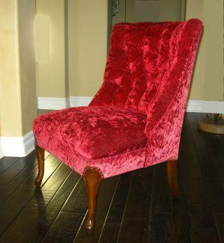 Hollywood Regency Mid Century Modern Red Velvet Slipper Chair photo