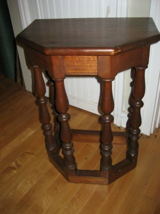 Jacobean Revival Side Table Stool With Gallery Form Legs 1920 ' S Walnut photo