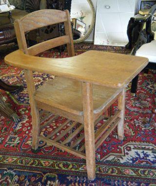 Antique Student School Desk Chair Oak Wood Rack Shelf Under photo