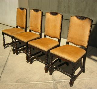 Set Of 4 Vintage Spanish Style Barley Twist Chairs Carved Wood Gold Tan Leather photo