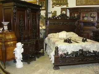 Antique Carved Italian Walnut Mid 19th Century Five Piece Queen Bedroom Suite photo