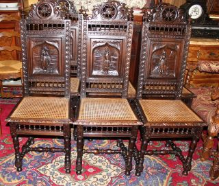 Exquisite Set Of 6 French Antique Brittany Chairs.  Made From Dark Oak. photo